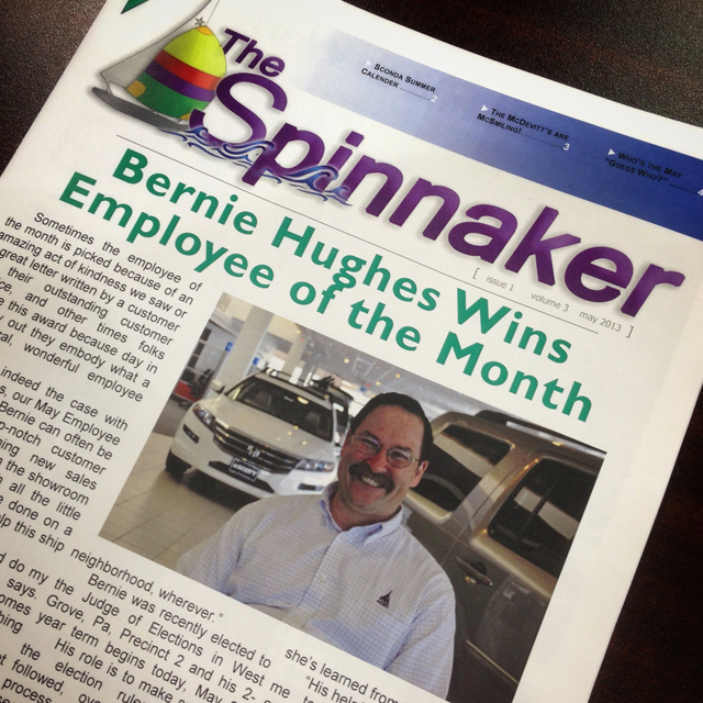 Bernie Hughes win Employee of the Month for May at Scott Honda & Scott Select.